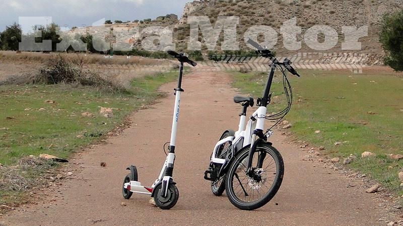 Patinete eléctrico vs. bici eléctrica, tres cuartos delantero